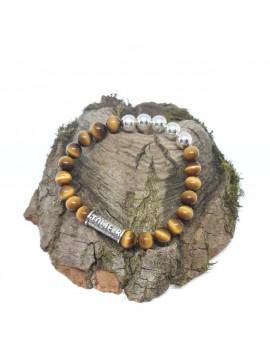 Armband Jolie-B tijgeroog met zilveren bolletjes